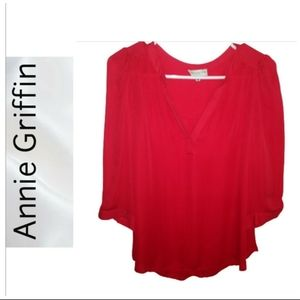 Annie Griffin Red Silk Pop Over Blouse/Top